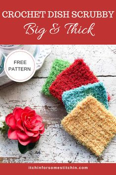These big & thick dish scrubbies are absolutely the best scrubbies you will ever use! They are so super easy to make and can be whipped up in less than 30 minutes. Plus they hold up to dish washing, pot scrubbing, and machine washing for months to years! Scrubbies Crochet Pattern, Crochet Dishcloths, Easy Crochet Patterns, Crochet Dish Scrubber, Crochet Ideas, Knitting Patterns, Crochet Kitchen, Crochet Home, Crochet Yarn