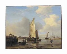 Willem van de Velde II (Leiden 1633-1707 London) A kaag and other vessels off an inlet on the Dutch coast Price realised  GBP 2,210,500 USD 3,468,274 Estimate GBP 1,200,000 - GBP 1,800,000 (USD 1,874,400 - USD 2,811,600)