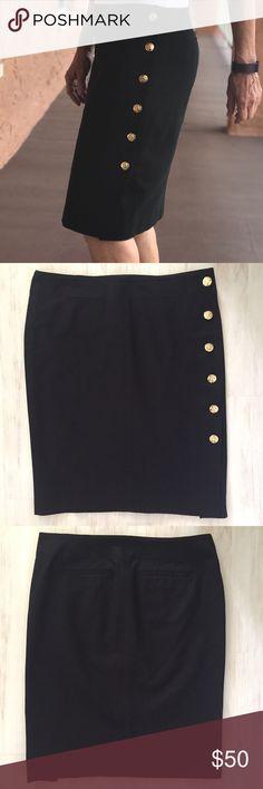 Ralph Lauren Pencil Skirt with Gold Buttons NWOT Fabulous black skirt with gold buttons up the side. 97% cotton, 3% elastane. NWOT. Waist measures 31 inches. Length is 21 1/4 inches. Lauren Ralph Lauren Skirts Pencil