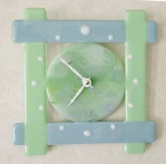 Pot Melt Clock Fused Glass Wall Clock by blueheron on Etsy
