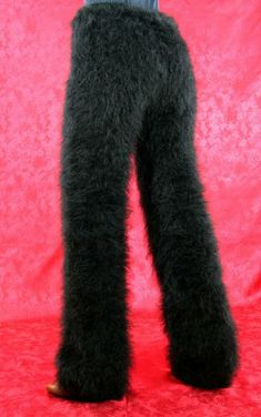 Fuzzy mohair pants fuzzy thick leggings warm handknit fluffy trousers SUPERTANYA