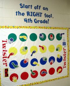 Bulletin Board Twister-Back to School. T <--cool idea if you are still looking for bulletin board ideas for your classroom School Classroom, Classroom Themes, School Fun, Classroom Organization, School Stuff, Future Classroom, Classroom Displays, Monopoly Classroom, Dorm Themes