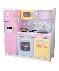 Look what I found on #zulily! Pink Large Pastel Personalized Play Kitchen #zulilyfinds