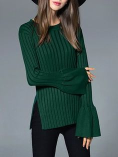 Dark Green Plain Long Sleeve Knitted Sweater