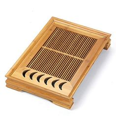 Bamboo Tea Tray / Board / Saucer with Water Tank Two Colors Yellow / Dark Chinese Tea Set, Bamboo Box, Tea Tray, Tea Strainer, Spring Green, Yellow And Brown, Water Tank, Tea Towels, Color Yellow