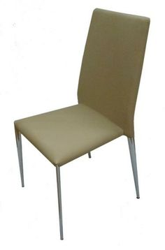 Gina PU & Chrome Dining Chair in Taupe