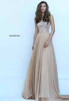 Gold Sherri Hill prom dress