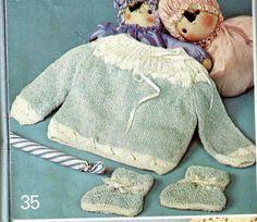 Graça Tricô e Crochê: Casaquinho de tricô azul e branco para bebes
