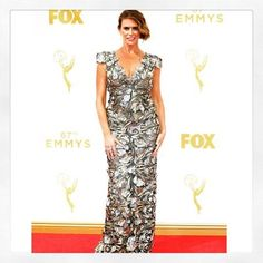 Amy Landecker wearing Marchesa Re16 at the Emmy's 2015
