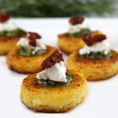Sundried Tomato Polenta Bites... a festive & elegant holiday appetizer that happens to be simple to prepare.