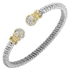 Vahan 4mm Sterling Silver & 14K Yellow Gold Diamond Bangle Bracelet…