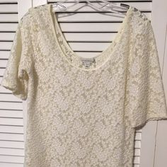 Banana Republic white lace top White shimmery lace top. Worn twice Banana Republic Tops Blouses