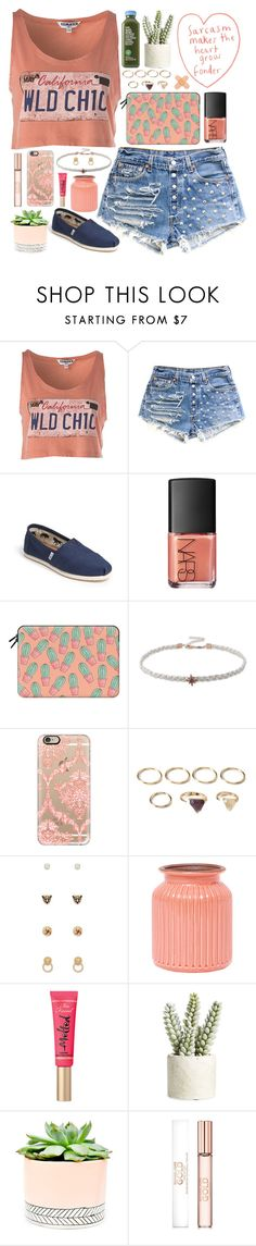 """""""Cactus"""" by swlf45 ❤ liked on Polyvore featuring TOMS, NARS Cosmetics, Casetify, Forever 21, ZiaBella, Too Faced Cosmetics, Allstate Floral, Hostess and Michael Kors"""