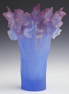 Daum Pate de Verre Iris Vase, in blue and violet, signed Daum, France, H.- 12 1/4 in., Dia.- 9 in.