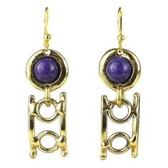 Purple Stone Playground Brass Earrings - Brass Images (E)