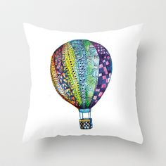 Hot Air Balloon Throw Pillow by Emily Stalley - $20.00