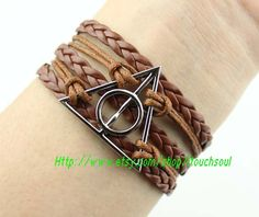 Harry potter Bracelet, Deathly Hallows Necklace--Antique silver Necklace, Lord of the Ring