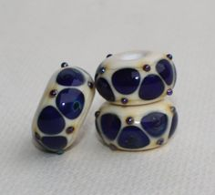 Ivory Donut Focal Charms Set of 3 Beads With Large Hole With Blue Multi-Color Dots - Pendent Handmade Lampwork Glass Beads