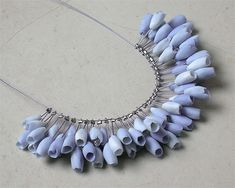 Polymer Clay necklace; flower buds necklace; light lilac; Luca Tripaldi (inspiration for polymer clay)