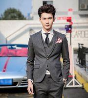 2016 Korean Men's New Suit Fashion Stripe Slim Fit Men Suits Jacket Pants Vest X006