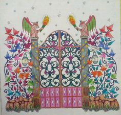portão - enchanted forest - secret garden - Johanna Basford - floresta encantada - jardim secreto - coloring book - livro de colorir - inspiration