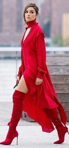 Red mindress & thigh boots with red keyhole jacket and high collar