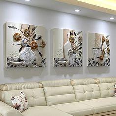 Pingofm Las imágenes decorativas tres de la sala con el arte minimalista moderno ningún cuadro pintura pintura mural en la habitación Restaurante Europa sofá para colgar en pared imagen Triple pintura decorativa,50*50