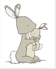 Woodland Nursery Art - Bunny Mama And Baby Hug - Bunny Nursery Art
