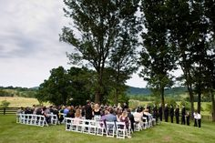 Outdoor ranch wedding ceremony.