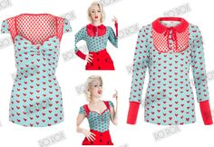 New Sexy Voodoo Vixen Blue Red Hearts Rockabilly 50s Vintage Pinup Top Blouse