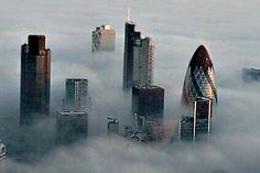 London popping it's head up through the clouds.
