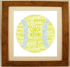 Personalised Tennis Word Art Gift by ArtyAlphabet on Etsy, £10.00
