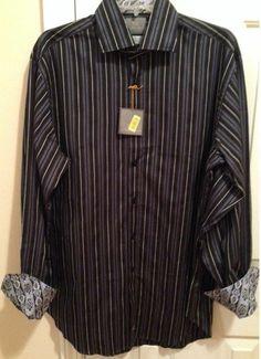 NEW Thomas Dean shirt LARGE navy stripes paisley flip cuffs
