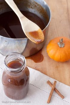 Easy Homemade Pumpkin Syrup - great on pancakes and in coffee or hot chocolate.