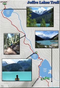 Joffre Lakes Provincial Park trails, maps and camping info. Canada Travel, Travel Usa, Canada Trip, Canada Eh, Vancouver Map, Vancouver Vacation, Hiking Guide, Hiking Trips, Camping In Illinois