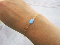 Hamsa (Hand) pendant on a hand bracelet (or anklet), light blue opal, gold filled, charm jewelry
