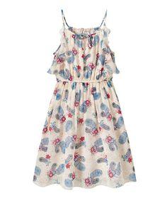 Look at this #zulilyfind! Cream Feather Ruffle Dress - Girls #zulilyfinds
