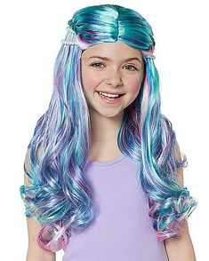 Add a splash of color to your mermaid costume with this enchanting mermaid wig! Mermaid Costume Kids, Mermaid Wig, Little Mermaid Costumes, The Little Mermaid, Birthday Hair, 2nd Birthday, Birthday Ideas, Halloween 2019, Halloween Costumes