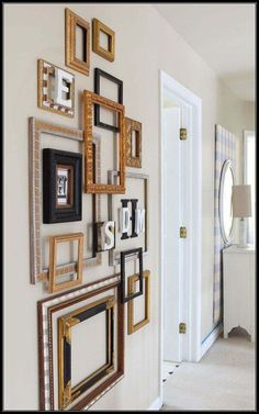 with Frames DIY Frame Gallery wall! Inspiration on using old empty frames as home decor! Inspiration on using old empty frames as home decor! Frame Wall Decor, Diy Wall Decor, Room Decor, Diy Frame, Frame Decoration, Empty Frames Decor, Gallery Wall Frames, Frames On Wall, Old Frames