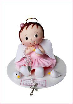 Topo de bolo batizado anjinha menina.