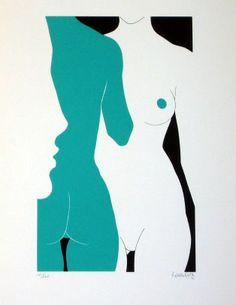 Dibujo minimalista con sombras de perfil cara, espalda y rrente de una figura femenina. Amleto Dalla Costa /  Pencil