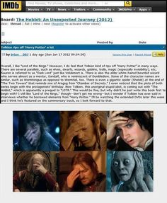 One does not simply believe that LOTR got most of its ideas from Harry Potter.