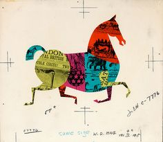 """Paper Collage Horse"" Illustration, Disney 1959 / Miehana"
