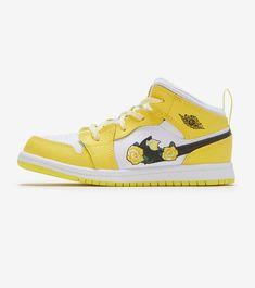 JORDAN AIR JORDAN 1 MID. #jordan #shoes Jordan 1 Mid, Air Jordan, Wings Logo, Jordans Girls, Logo Stamp, Yellow Black, Jordan Shoes, World Of Fashion, Kids Girls