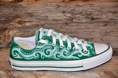 Tribal Swirls on Green Converse All Stars by lucytwoshoes on Etsy, $190.00