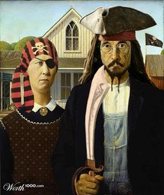 American Gothic not really piratey but really funny. American Gothic Painting, American Gothic House, Grant Wood American Gothic, American Gothic Parody, Deviant Art, Famous Artwork, Art Institute Of Chicago, Couple Art, Gothic Art