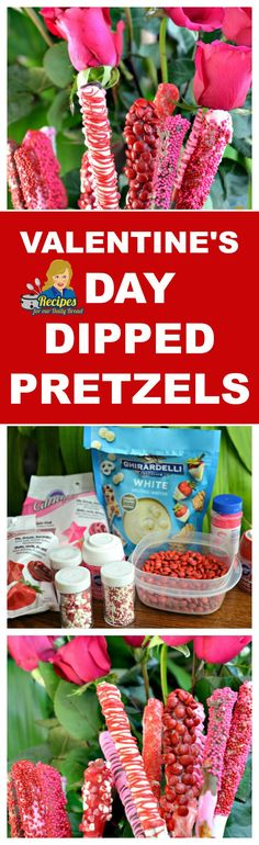 VALENTINE'S DIPPED PRETZELS RODS KIDS LOVE & ENJOY MAKING - Looking for easy recipes for Valentine's Day?  These Valentine's Day dipped pretzel rods are super cute and incredibly easy to make.