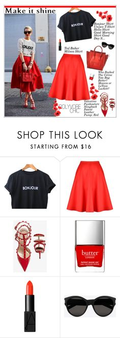 """Make it shine!"" by sabinakopic ❤ liked on Polyvore featuring Ted Baker, Valentino, Butter London, NARS Cosmetics, CÉLINE, Yves Saint Laurent, women's clothing, women, female and woman"