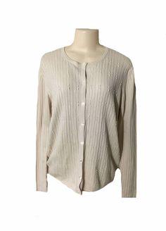 Preston York Cream Silk Cashmere Embellished Button Front Sweater XL | eBay