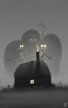 Twilight - 2 hour digital painting by concept artist Denis Zilber Arte Horror, Horror Art, Art And Illustration, Art Illustrations, Monster Illustration, Halloween Illustration, Fantasy Kunst, Fantasy Art, Dark Fantasy